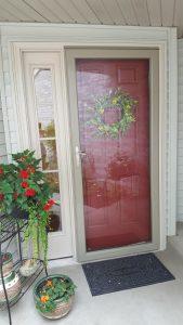 replacement entry door in red